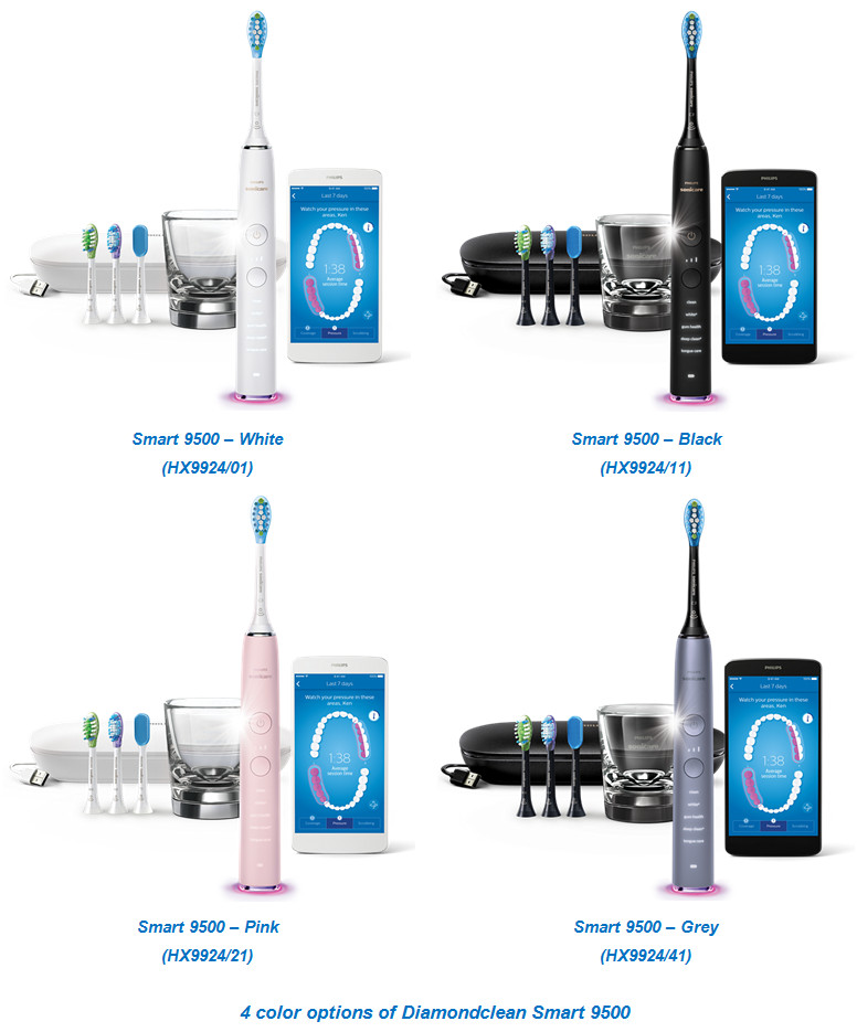 4 color options of Diamondclean Smart 9500