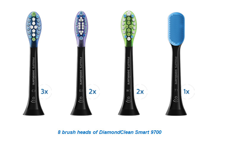 8 brush heads of DiamondClean Smart 9700